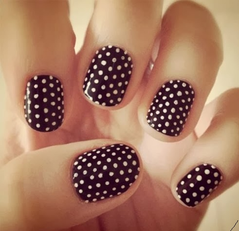 Black & White Dotted acrylic nails design 2015