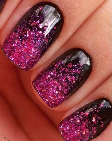 acrylic nails deisgn Purple and Black Sparkles