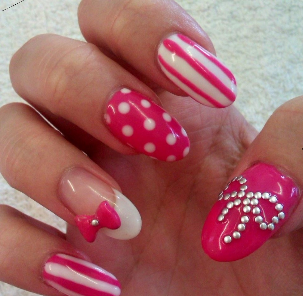 2015 acrylic nail design Strawberry White Ribbon Design